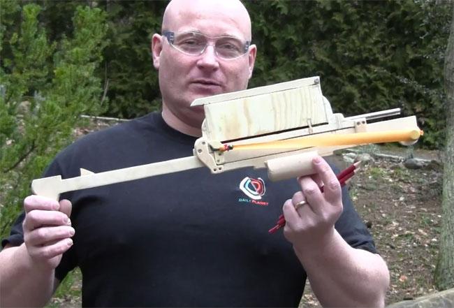 Pump Action Slingshot Crossbow | Make: