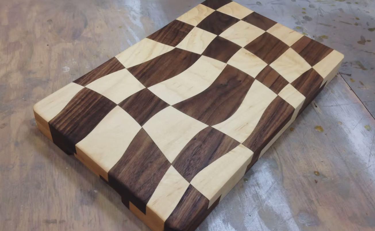 Wooden Cutting Boards ~ Swirly checkered wooden cutting board make