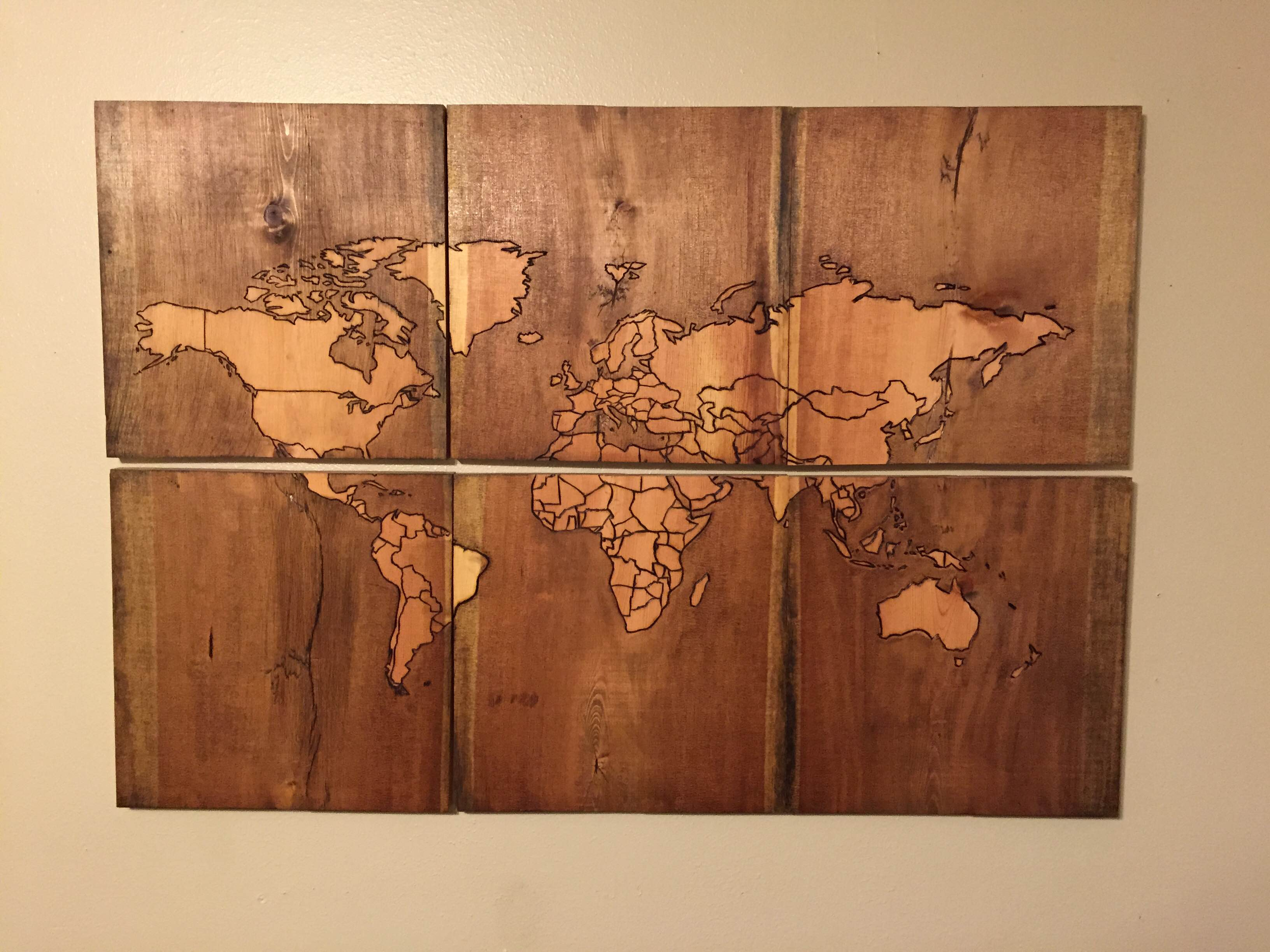 Diy Wall Murals Beautiful Map Of The World Burned Into Scrap Wood Make